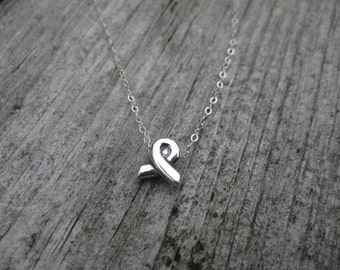 Awareness Ribbon Necklace Sterling Silver Breast Cancer Awareness Tiny Ribbon Jewelry Cancer Survivor Gift Breast Cancer Necklace