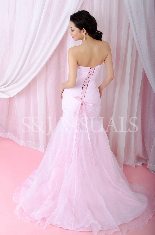 Blush pink mermaid wedding dress couture wedding gown for Blushing pink wedding dress