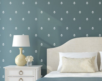 Anchor Wall Decals Set - Set of 56 anchors - 2.5 inches - Nautical Decor Pattern Wall Vinyl Stickers
