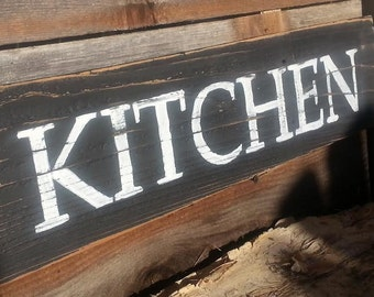 Kitchen Sign Distressed Reclaimed Rustic Wood Country Home Decor Hand Painted Gifts Under 30 Dollars Gift For Her