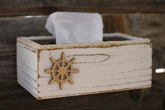 Tissue Box Cover Holder Rustic Shabby Chic Beach By Signshack