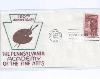 VELVATONE The Pennsylvania Acadamy of the Fine Arts Postal Stationery First Day Cachet Philapelphia, PA 1955