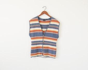SALE ~ Vintage southwestern vest / stripe vest / oversize knit vest