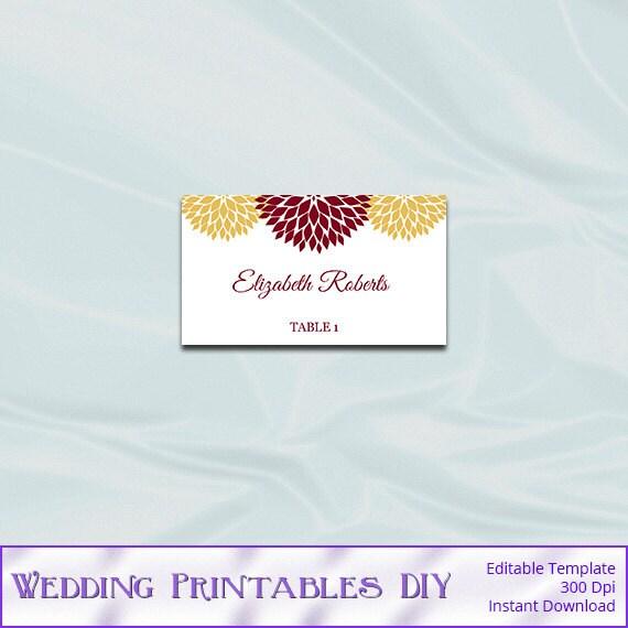 printable wedding place card template by weddingprintablesdiy