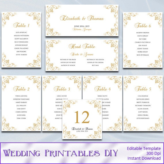 gold wedding seating chart template diy elegant printable