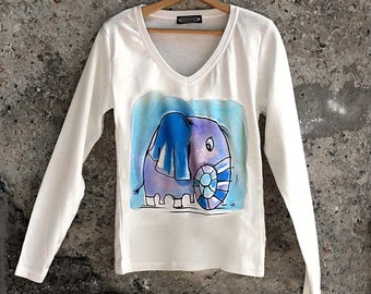 Hand painted blouse with fun elephant in violet and blue. Long sleeve cotton blouse. Fun elephant blouse. Autumn t shirt.