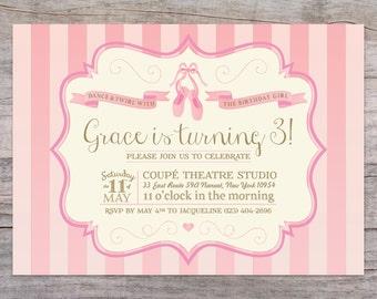 Prima Ballerina Ballet Birthday Invitation with Free Shipping or DIY Printable