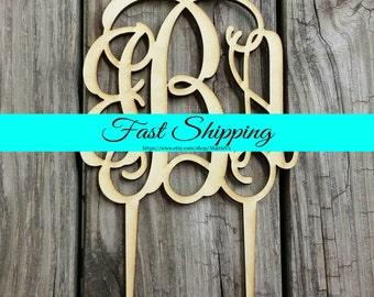 """6"""" Wooden Monogram Cake Topper - Unfinished Wood Monogram - Custom Monogram Cake Topper - Wedding Cake Decor - Wood Letters"""