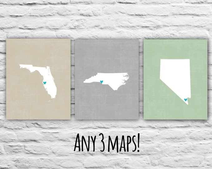 Christmas Gift for Best Friends, Gift Ideas, - Three Prints, 8x10 States Maps, Gift for Family Personalized Map Military, Where We've Lived