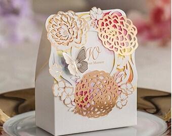 Butterfly Flower Laser Cut Wedding Favor Box (Set of 30)