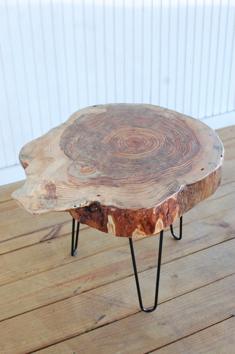 Wood Stump Side Table Mid Century Coffee by