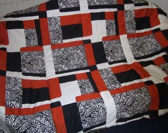 Bags Home   orange Patchwork  Blanket - Fringe Blanket - Farmhouse Blanket - Patchworkoptik blanket - Throw Blanket - Homedecor - Bedding