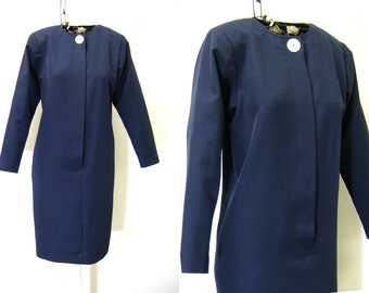 Vintage Navy Dress with Big Button | David Warren | 1980s Long Sleeve Blue Dress