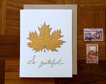 So Grateful, Letterpress Thank You Card