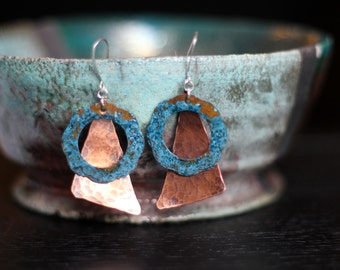 Blue Patina Earrings - Hammered Copper - Handmade - Mixed Metal