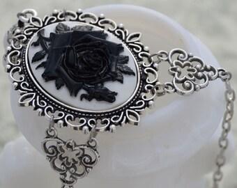 La Rose Gothique - Beautiful Black Rose Cameo Necklace - Free US Shipping