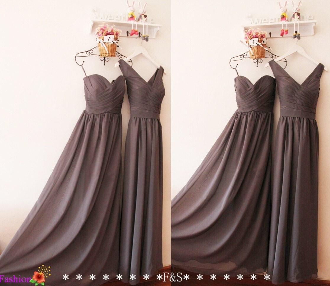 Charcoal Gray Bridesmaid DressCustom Grey V neck Modest