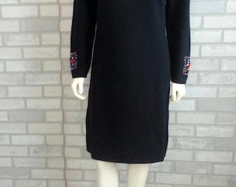 Black Sweater Dress with Rhinestone Eighties 1980's Sexy winter dress Long Sleeve