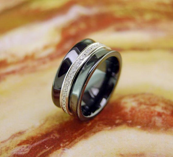 Black ceramic wedding ring with silver band by for Black ceramic wedding ring