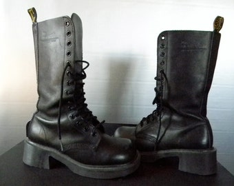 Vintage 90's Rare Doc Marten AW04 Made in England Black Soft Leather Boot 14 Eyelet w/ Block Heel UK 4/ US 6