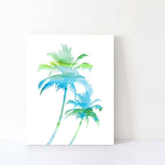 Palm tree print bathroom printable art by happycatdownloads