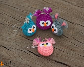 Owl phone charm, crochet owl keychain, iPhone charm,  owl bag charm, miniature crochet owl, amigurumi owl