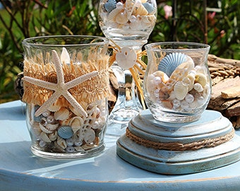 Beach Wedding Centerpiece//Beach Wedding Decor//Nautical Wedding Decor//Starfish Wedding Decor//Coastal Wedding//Wedding Votives//Seashells