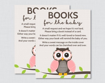 Owl Baby Shower Bring A Book Instead Of A Card Invitation Inserts   Instant  Download