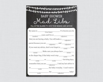 Chalkboard Baby Shower Mad Libs Printable - Baby Shower Advice Cards Mad Libs Game - Digital Instant Download - Chalkboard