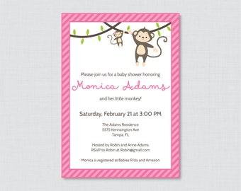 Monkey Baby Shower Invitation Printable Invite - Monkey Baby Shower Invites in Pink and Stripes Girl Baby Shower Monkey Invitation - 0009-P