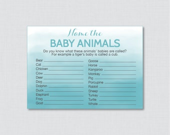 Blue Baby Animals Name Game Baby Shower Printable Baby Shower - Printable Instant Download - Blue Watercolor Baby Shower Game - 0014-B