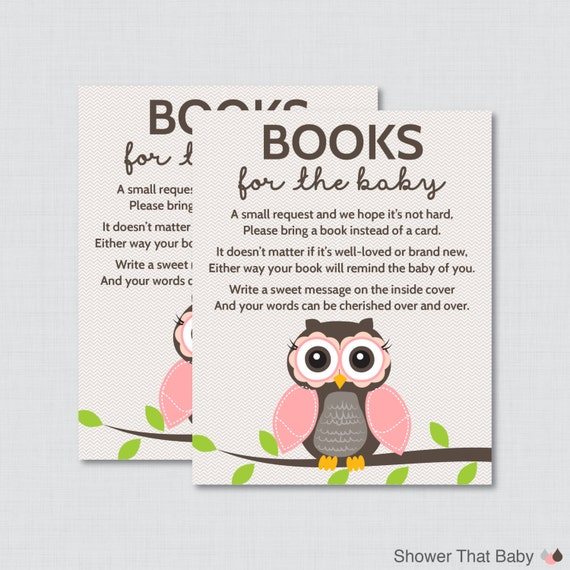 owl baby shower bring a book instead of a card invitation inserts
