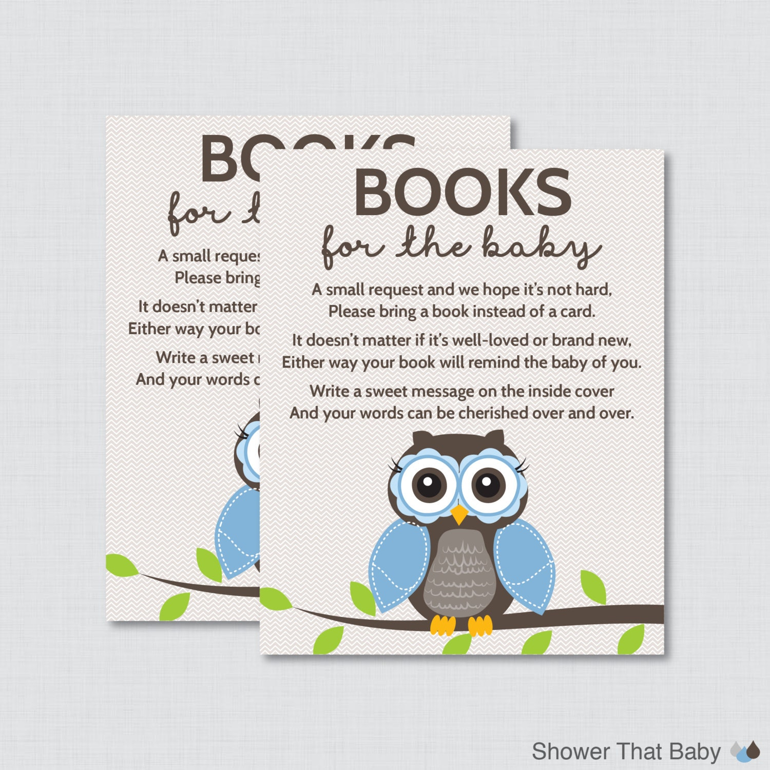 Owl Baby Shower Bring a Book Instead of a Card Invitation