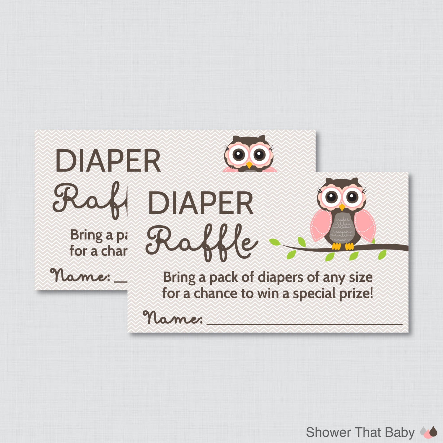 Baby Shower Diaper Raffle: Owl Baby Shower Diaper Raffle Ticket Cards And Diaper Raffle