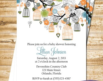 Bird Cage Baby Shower Invitation - Bird Baby Shower Invite - Orange Green Blue Bird Cage Invitation - Boy Baby Shower Invite -1121 PRINTABLE