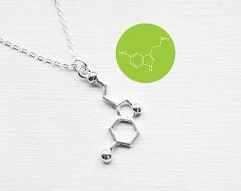 Serotonin Necklace - Serotonin Charm Necklace - Science Necklace - Chemical structure happy hormone Molecule Pendant