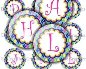 Alphabet Bottlecap Images. Argyle Bottle Cap Images. Digital 1 Inch Circle. Badge Reel, Pendant Necklace Images. Printable Circles. 019