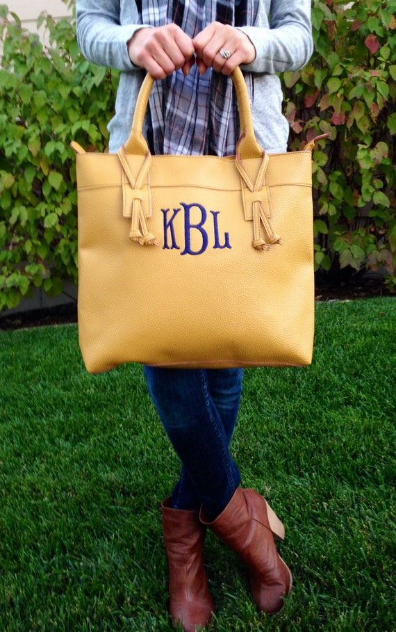 Monogrammed Faux Leather Tote, Purse, Bag (Houston)