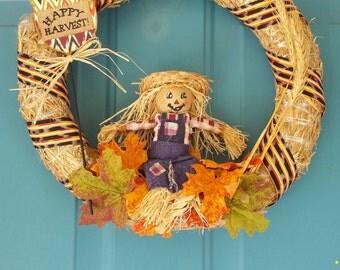 Scarecrow Fall Wreath, Autumn Wreath, Straw Fall Wreath with Scarecrow Halloween Wreath for Front Door