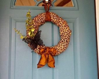 Leopord Wreath, animal print wreath, butterfly wreath, animal print decor, leopard decor, leopard wreaths