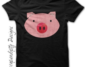 Pig Shirt - Toddler Farm Birthday Party / Kids Pink Pig Outfit / Down on the Farm Shirt / Girls Baby Shower Gift / Personalized Kids Shirts