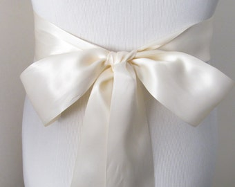 Ivory Ribbon Sash / Double Faced Ribbon Sash / Bridal Sash / Bridal Ribbon / Ivory