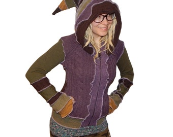 ON SALE! Purple Green and Brown Elf Hood Pixie Cardigan Katwise Inspired Forest Nomad Upcycled Faerie Festival Sweater S