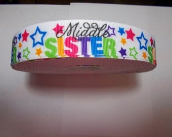 """Five yards grosgrain ribbon - 7/8"""" Middle Sister with multi colored stars"""