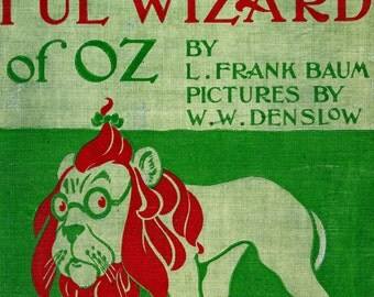 "Vintage Book Cover Print ""The Wonderful Wizard of Oz"" - L Frank Baum - The Wizard of Oz - Victorian Classic Childrens Book - Nursery Decor"