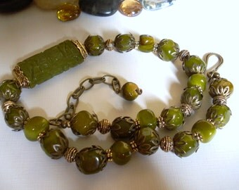Green Jade Carved Bead and Jade Nugget Necklace