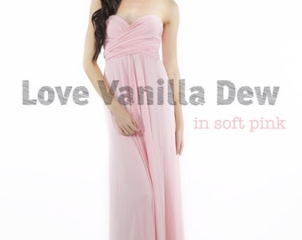 Bridesmaid Dress Infinity Dress Soft Pink Floor Length Maxi Wrap Convertible Dress Wedding Dress