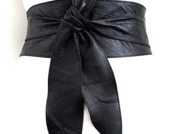 Black Obi Belt | | Sash Belt | Plus Size Wide Belt | Leather Corset Belt | Wrap Belt | Leather Obi Belt | Wide Waist Belt | Leather Tie Belt