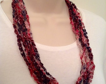 Sale!  Purple and Pink Crocheted Ladder Yarn Necklace