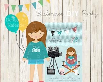 Personalized Birthday Party. Teenager Cinema invitation-1. DIY Printable.